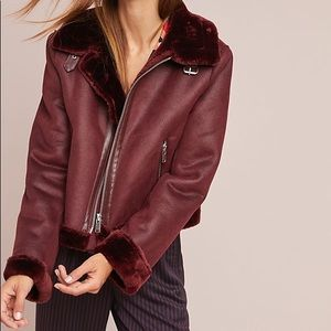 Anthropologie Fur-lined Moto Jacket